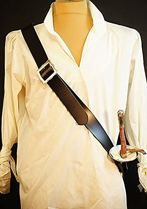 Deluxe Adult Costumes - Pirate black leather sword baldric belt and sword frog