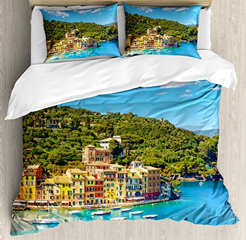 Ambesonne Italy Duvet Cover Set Queen Size, Portofino Landmark Aerial Panoramic View Village and Yacht Little Bay Harbor, Decorative 3 Piece Bedding Set with 2 Pillow Shams, Blue Green Yellow ()