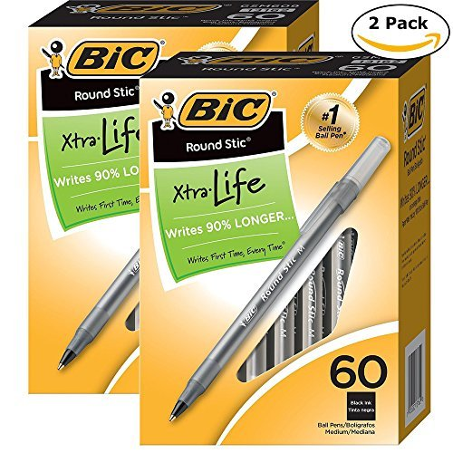 BIC Round Stic Xtra Valve Smooth Writing Ball Pen, Medium Point (1.0 mm), Black, 60-Count (Pack of 2)