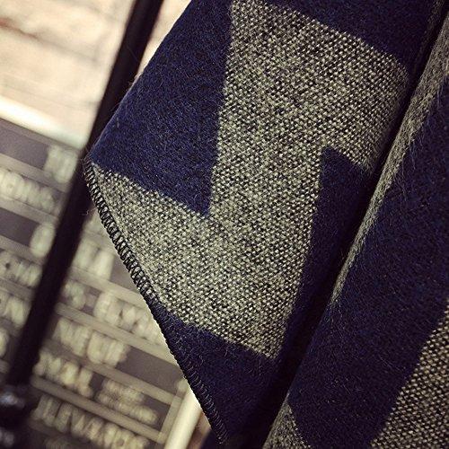 iShine Elégant Cape Tricoté Pélerine Femme Poncho Mode avec Frange Manteau Chaud Automne Hiver Printemps par Laine Artificiel Bleu foncé et Bronze