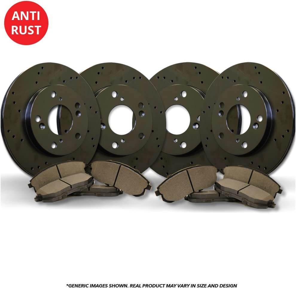 Heavy Tough-Series Front+Rear Kit Fits:- 5lug 4 Black Coated Cross-Drilled Disc Brake Rotors 8 Semi-Metallic Pads