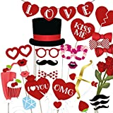 Valentine's Day/Wedding Photo Booth Props - Set of 35, JCTHBAG DIY Decorations Kits for Your Lover, Gift for Him or Her, Anniversary, Wedding, Birthday Party Supplies Theme (35 Counts)