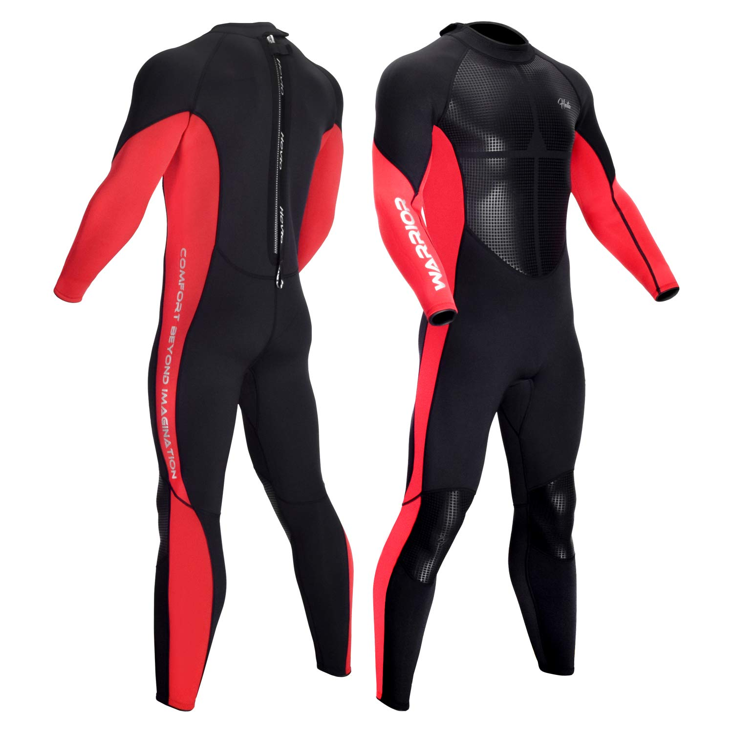 Hevto Wetsuits Men 3mm Neoprene Adult Long Sleeve Fullsuit Scuba Diving Suits Surfing Swimming Keep Warm Back Zip for Underwater Sports (Red Men Ⅱ, XXL) by Hevto