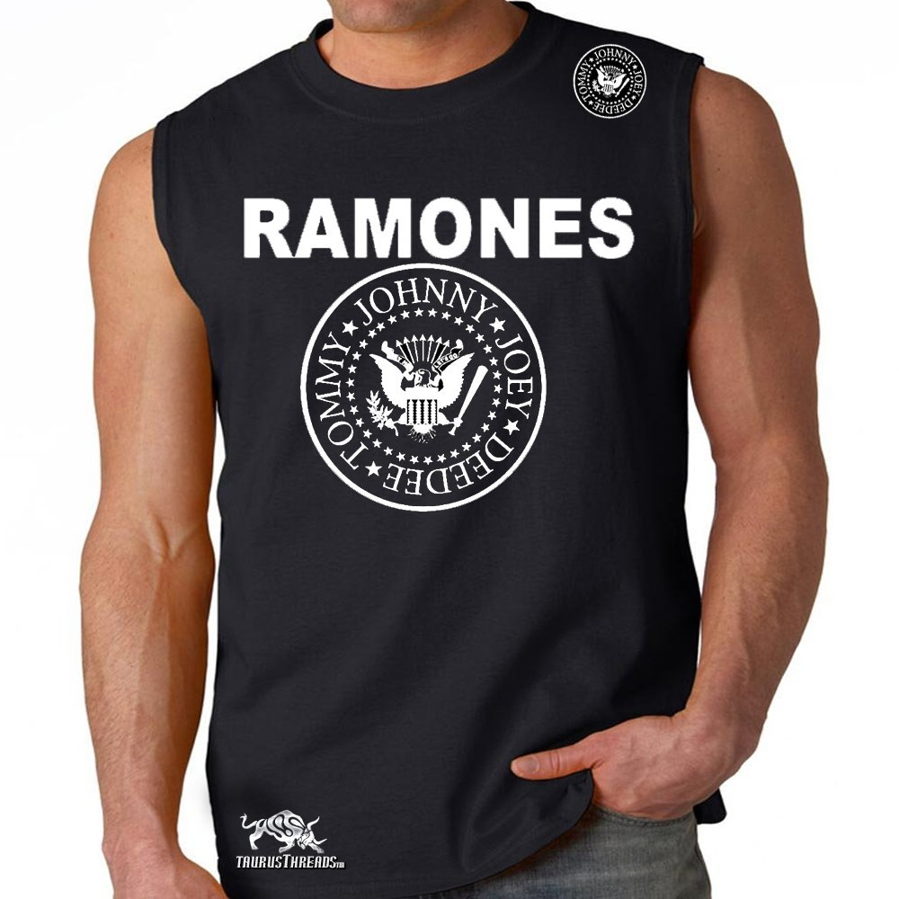 MMA Customs The Ramones Punk Band Shoulder Patch Adult Muscle Shirt Black