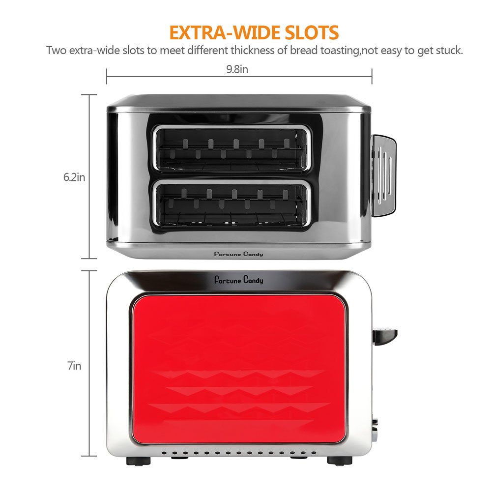 Fortune Candy Red 2-Slice Toaster, Compact Stainless Steel Toaster 2 Slice with 7 Toast Shade Settings, Bagel Defrost Reheat Cancel Function, Extra Wide Slots, Removable Crumb Tray