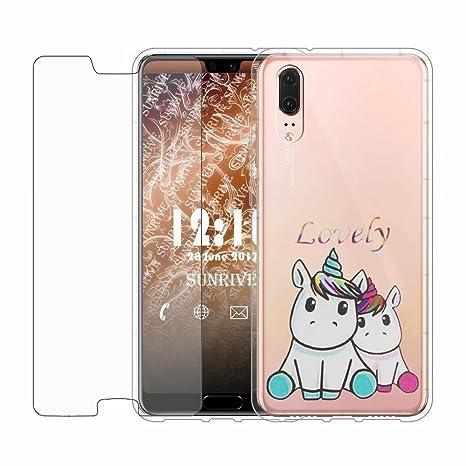 new authentic release date buy best Coque Huawei P20 Pro Fanxwu Ultra DouxTPU Transparent Case [Protecteur  D'écran en Verre Trempé] Résistant aux Rayures Protecteur Housse - Couple  ...