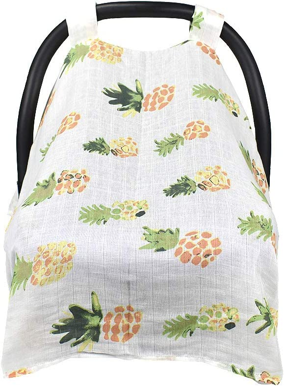 Red Flowers Unisex Multifunction Large Lightweight Stroller Covers Infant Carrier Safety Basket Sunshade Covers QCWN Baby Car Seat Cover Breathable 100/% Cotton Muslin Carseat Canopy