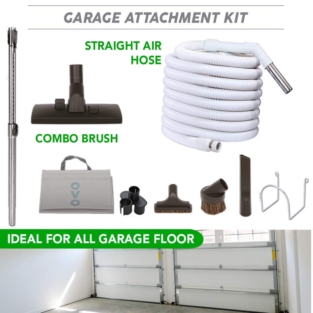 Ovo KIT-30G-OVO Garage Vacuum Accessories Kit Set Includes 30ft Central Vac Combo 3 Hose Attachments-Dusting Upholstery Crevisse Brush, 30 ft, Black and grey