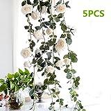 Fake Creamy Rose Vine Garland, Pack of 5 Artificial Flower, Decorative Hanging Emulational Plant for Hotel/Wedding/Home/Party Garden Craft Art Decor