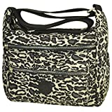 Multi Pocket Crossbody Bag Lightweight Travel Purse Volganik Rock Nylon Waterproof Shoulder Handbag (8016_Pattern#Leopard)