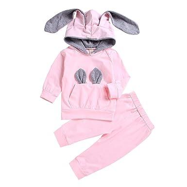 56ed1f5c9 Amazon.com: Cute 2Pcs Newborn Baby Girls Long Sleeve Rabbit Ear Sweatshirt  Hoodie Tops+Solid Pants Costume Outfit Set: Clothing