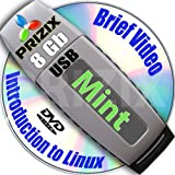 Mint Cinnamon 17 on 8gb USB Stick Flash Drive and Complete 3-discs DVD Installation and Reference Set, 32 and 64-bit