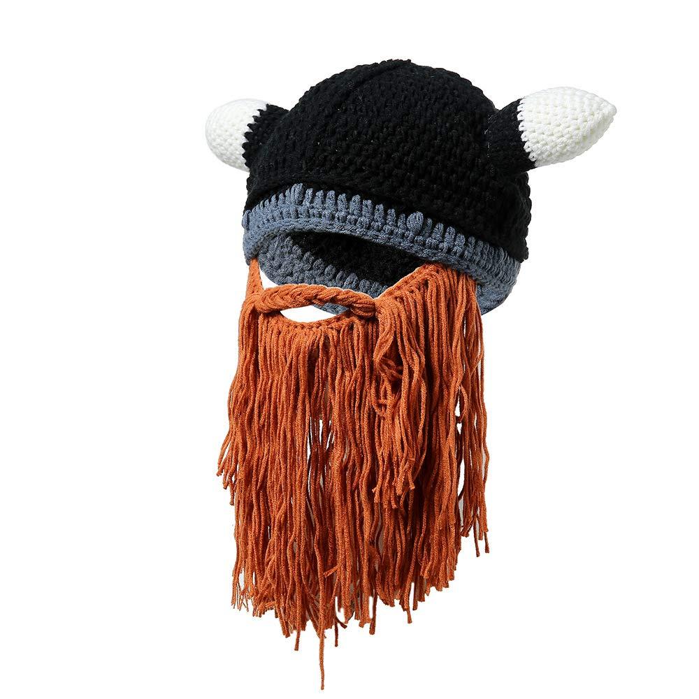 fzYRY Gris Sombrero De Vikingo NóRdico De Personalidad De Temporada De OtoñO E Invierno, Sombrero De Cuerno De Barba De Lana Hecho A Mano