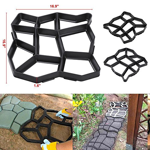 go2buy Driveway Pathmate Stone Paver Concrete Mold Paving Stepping Stone Mould Pavement,16.9×16.9×1.6