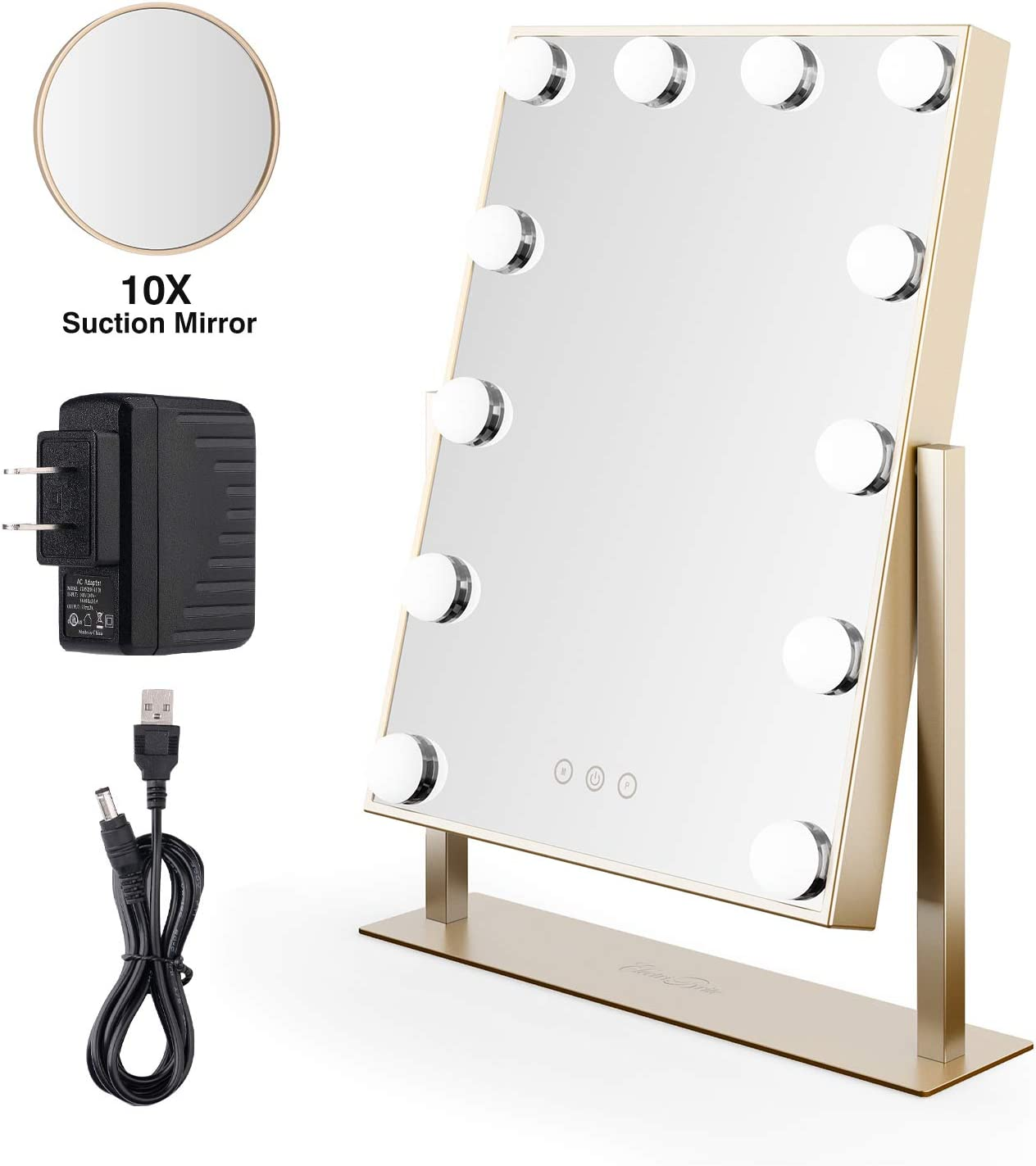 Hollywood Makeup Mirror with Lights - LED Lighted Makeup Vanity Mirror, Smart Touch Control 3 Color Mode Dimmable Light-up Cosmetic Mirror with 10X magnification, 12x3W/UL Plug Power Supply