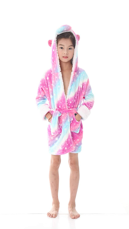 Ecommercer Trade Girls Star Unicorn Bathrobe Dressing Gown 3D Horn Magical Purple Pink Yellow PJs Pyjamas Blue, Age 6-8