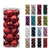 """KI Store 24ct Christmas Ball Ornaments Shatterproof Christmas Decorations Tree Balls Small for Holiday Wedding Party Decoration, Tree Ornaments Hooks included 1.57"""" (40mm Red)"""