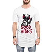 Camiseta Criativa Urbana Long Line Oversized Engraçadas Good Vibes Bull Dog Iphone