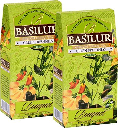 Basilur   DIGESTIVE TEA   Ceylon Green Loose Tea with Peppermint leaves, Amaranth and Safflower   100g (3.52oz.) Per Box   Pack of 2