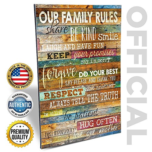 Marla Rae 12-Inch-by-18-Inch Earth Tones Our Family Rules Wall Art Decor (Personalized Wall Art For Kids compare prices)