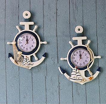 Personalidad creativa de la caseta del timón del reloj del ancla electrónico reloj relojes náuticos decorativos: Amazon.es: Deportes y aire libre