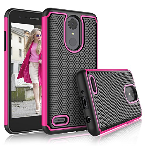 LG Aristo 2 Case, LG Tribute Dynasty/Empire/LG Aristo 3/K8 2018/Fortune 2/Zone 4/Risio 3 Cute Cases, Tekcoo [Tmajor] Shock Absorbing [Rose] Rubber Silicone Plastic Scratch Resistant Sturdy Cover (Lg Tribute Pink Phone Case)