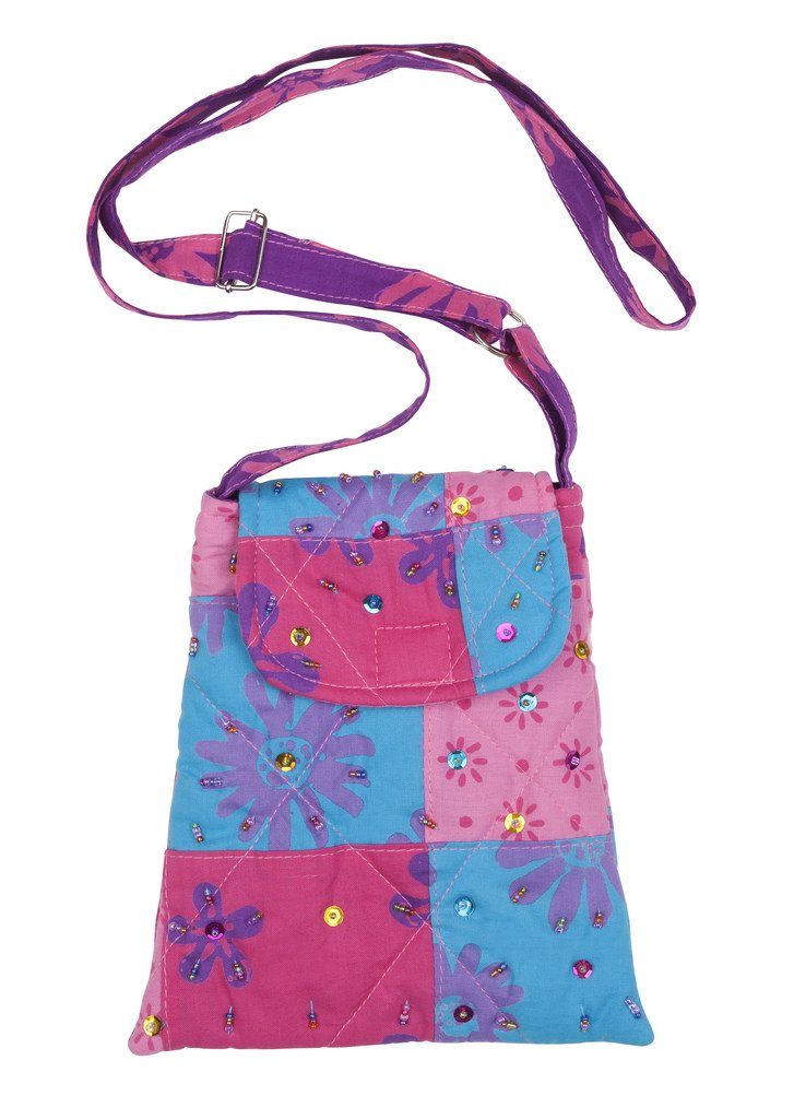 Shu-Shi Girls Sparkly Colorful Purse Bag Cotton Quilted Patchwork Long Adjustable Strap-Shi Girls Sparkly Colorful Purse Quilted Cotton Patchwork with Beaded Dog shape Purse Charm