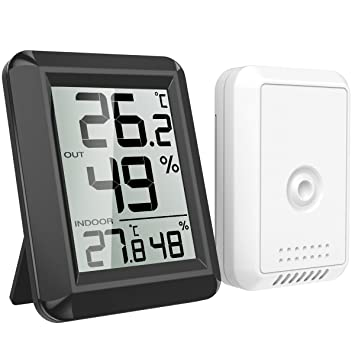 AMIR Termómetro Higrómetro Digital para Exterior Interior Monitor Temperatura Humedad Inalámbrico Mini Medidor Higrómetro con Pantalla LCD Interruptor ℃/℉ ...