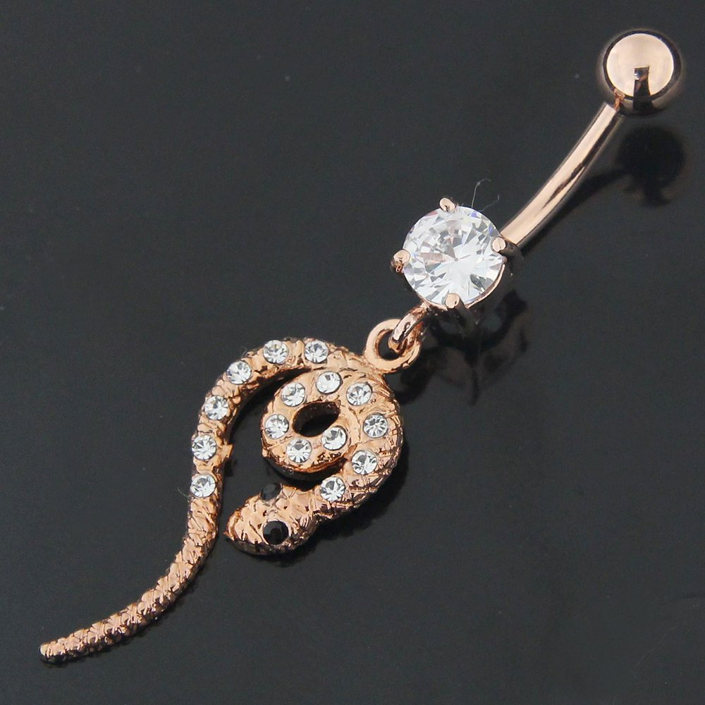 Rose Gold Plated Clear CZ Stone Snake 925 Sterling Silver Belly Button Piercing Ring