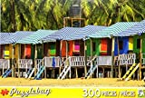 PuzzleBug 300 Piece Puzzle ~ Colorful Huts On A Sandy Beach