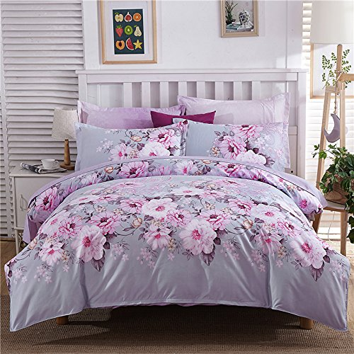 British Colonial Fabric - Sunny Lives 3 PC Duvet Cover Set, Luxury 100% Super Soft Double Brushed Microfiber,Beautiful Floral Pattern (Blueberry Night, Queen)