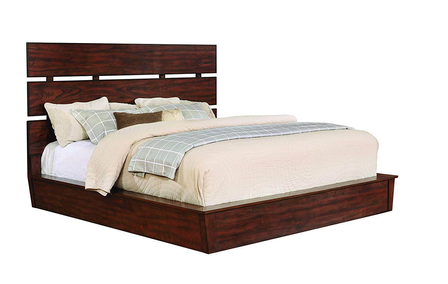 Artesia Queen Platform Bed with Plank Headboard Dark Cocoa