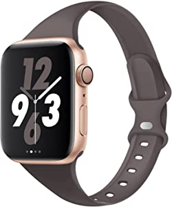 Acrbiutu Bands Compatible with Apple Watch 38mm 40mm, Slim Thin Narrow Replacement Silicone Sport Strap for iWatch SE Series 1/2/3/4/5/6, Smoke Violet 38mm/40mm