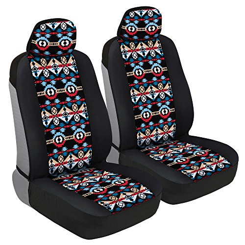 (BDK Two Tone Pattern Car Seat Covers - Sideless Chic Style - Soft & Flexible Polyester (Aztec Pattern) )