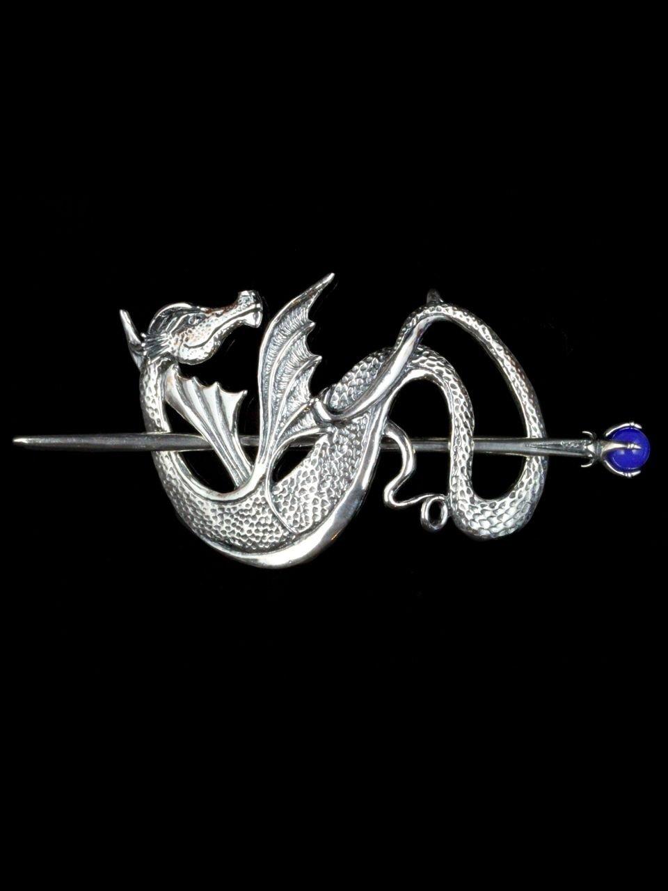 Silver Dragon Hair Clip Wyvern Dragon Barrette