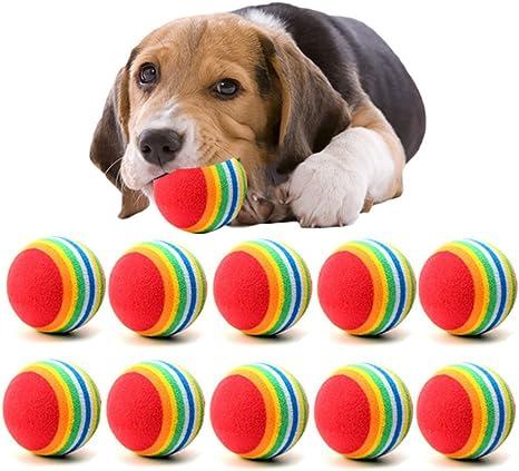10Pcs Juguetes Bolas para Perros, Mignon Juguete Pelotas Coloridas ...