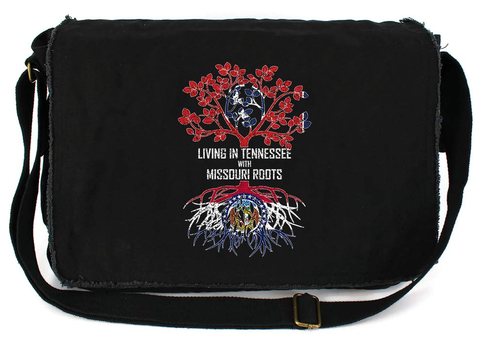Tenacitee Living In Tennessee with Missouri Roots Grey Brushed Canvas Messenger Bag