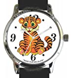 """Save Our Wildlife"" Large Polished Chrome Watch with Black Leather Strap has a ""Tiger"" image and Donation to the African Wildlife Foundation"