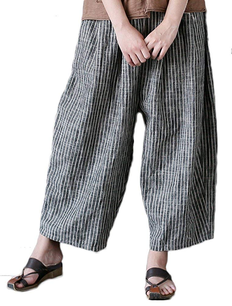 ZHRUI Pantalones a Rayas de Mujer Pantalones de Lino de Cintura elástica (Color : Style 1-Grey, tamaño : L): Amazon.es: Hogar