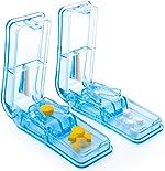 2-Pack Pill Cutter - Pill Splitter with Stainless Steel Blade for