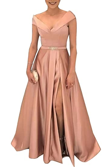 ffb22083888 HONGFUYU Satin Slit Belt Prom Dresses Long A-line Formal Gowns Wedding  Party Dresses at Amazon Women s Clothing store