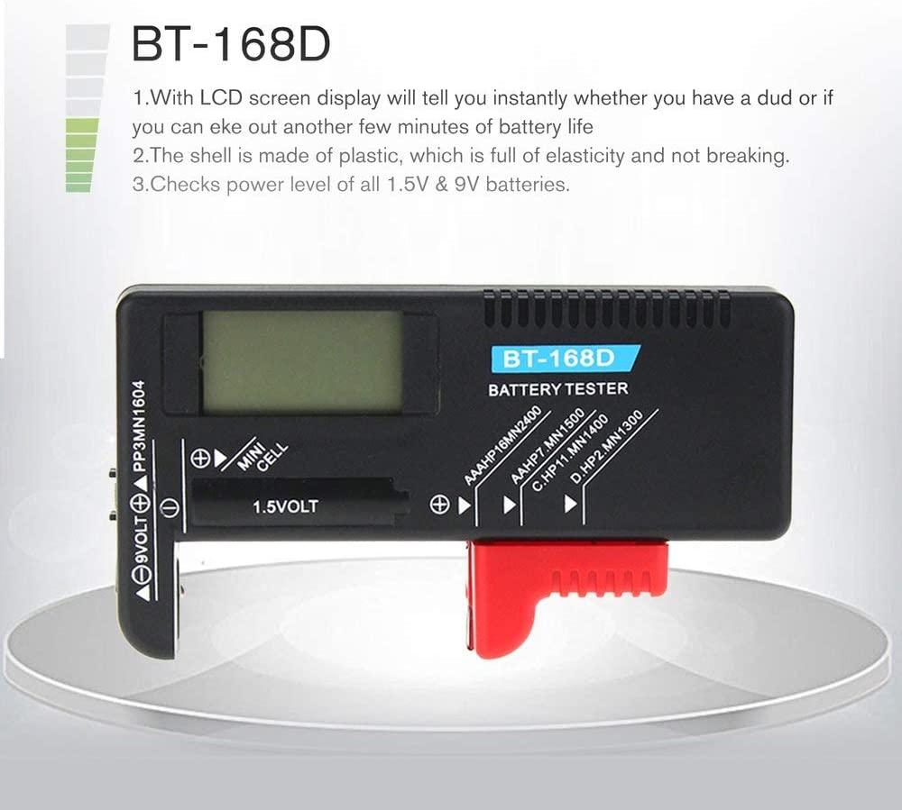 Digital LCD Battery Checker Volt Tester AA//AAA//D//9V Button Cell RS