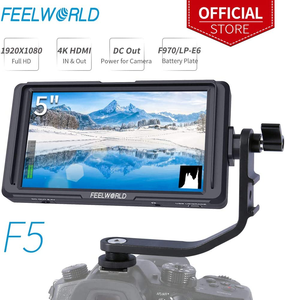 FEELWORLD F5 5 Inch DSLR On Camera Field Monitor Small Full HD 1920x1080 IPS Video Peaking Focus Assist with 4K HDMI 8.4V DC Input Output Include Tilt Arm