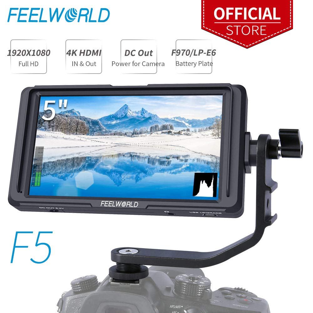 FEELWORLD F5 5 Inch DSLR On Camera Field Monitor Small Full HD 1920x1080 IPS Video Peaking Focus Assist with 4K HDMI 8.4V DC Input Output Include Tilt Arm by FEELWORLD