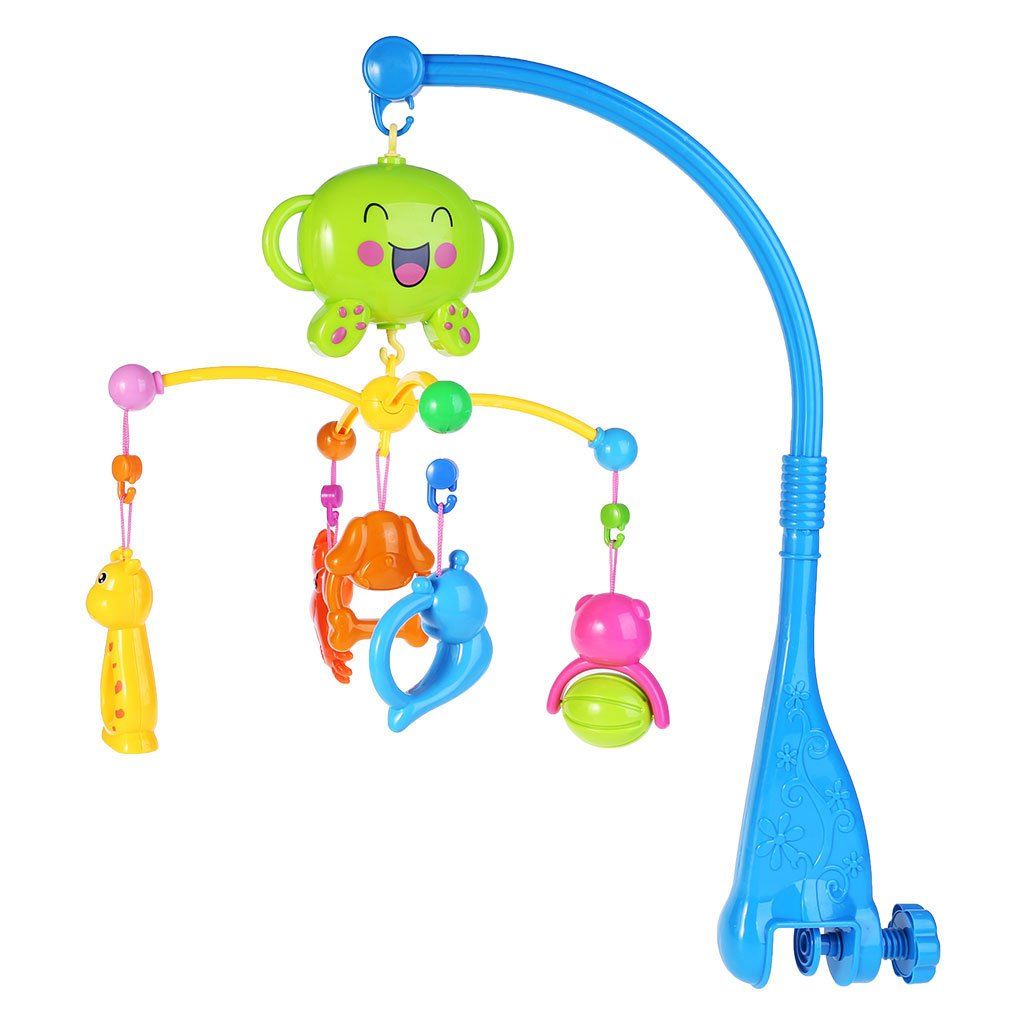 Seaskyer Baby Bed Bell Toys Crib Mobile Musical, Plastic Hanging Rattles with Lights and Music, Baby Crib Decoration Newborn Gift Plush Musical Mobil (Pink) (Blue)