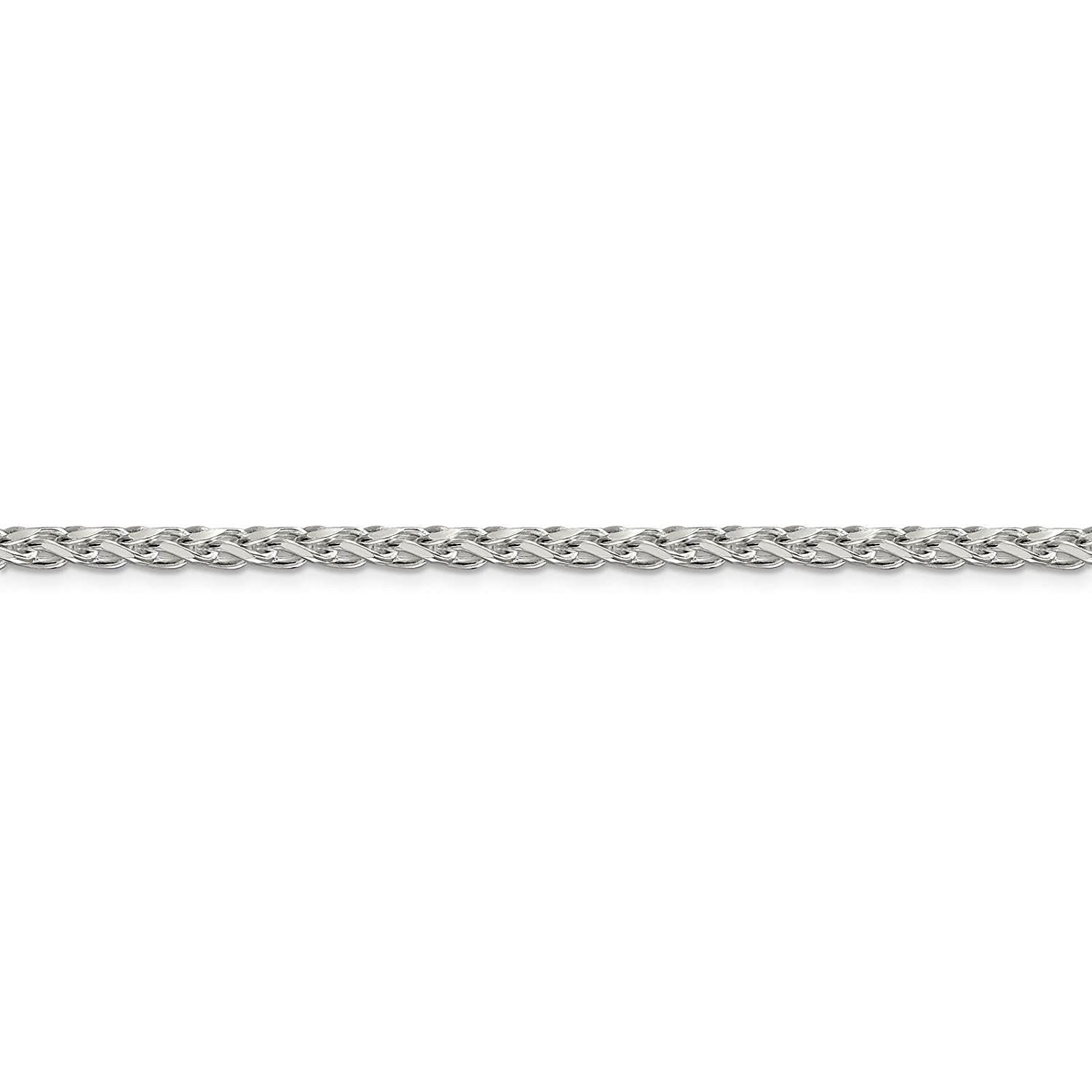 925 Sterling Silver 3.5mm Diamond-cut Round Spiga Chain Necklace 18-24