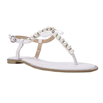 Lara s Women s Pearl Crystal T-Strap White Flat Beach Wedding Sandals for  Bridal US Size 34d5e3724a