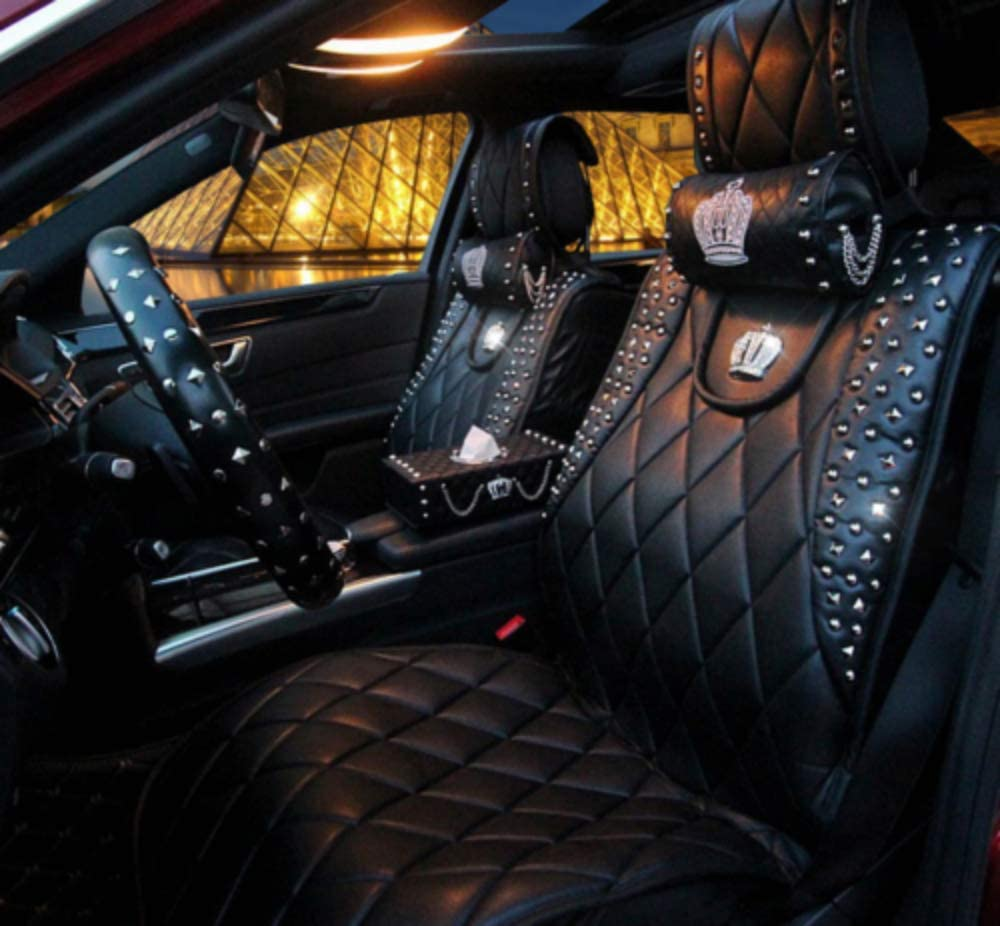 Fully Surrounded Unisex Seat,Winter Leather Seats Car,PU Leather and 3D Breathable Fabric JOJOHON Crown Car Seat Covers Black-White