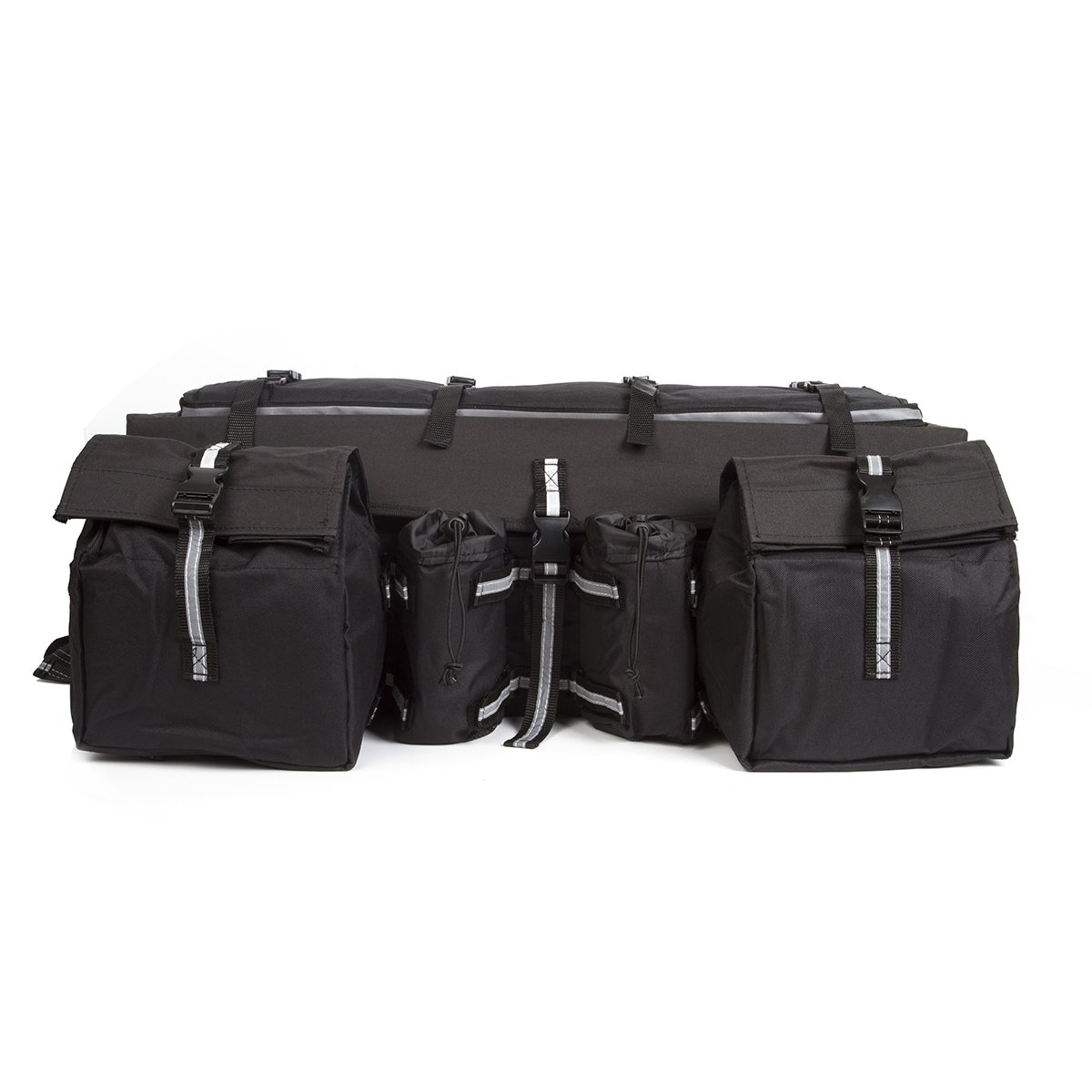 ATV Cargo Bag Rear Rack Gear Bag Made of 600D Waterproof Fabric with Topside Bungee Tie-Down Storage Padded-Bottom Multi-compartment Black Acmotor COMINU012980