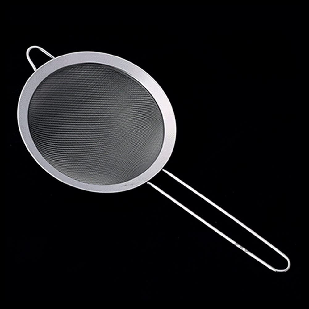 Silver Mesh Flour Sifter Colander,Stainless Steel Wire Fine Oil Strainer ,Sugar Sifter Sieve Strainer ,Non Slip Handles Strainers for Kitchen